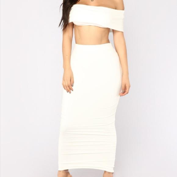 ac704b327890 Fashion Nova Other   White Tight Skirt Set   Poshmark